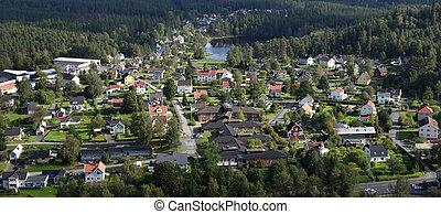 Small Town Neighbourhood - Bird wiew over small town ...