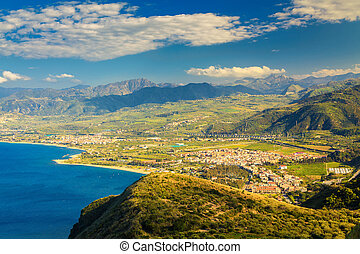 small town Oliveri, Sicily - view of a small town Oliveri ...