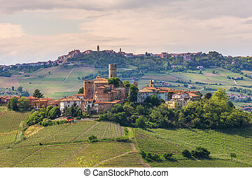 Small town on the hill in Italy.