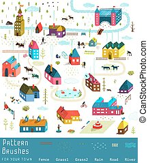 Small Town or City Houses Buildings Landscape Big Collection...