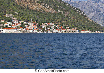 Small town Perast on the shore of the Kotor Bay
