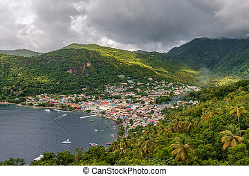 Small town Soufriere in Saint Lucia, Caribbean Islands