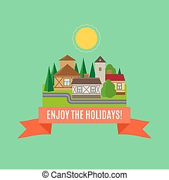Small town summer landscape card