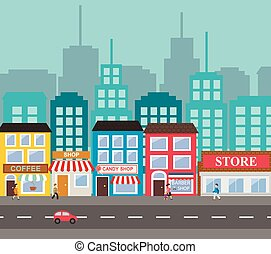 Small town urban landscape in flat design style, vector ...