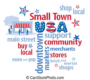 Small Town USA - Small town USA word cloud with store...