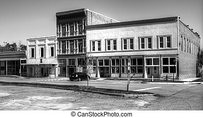 Small Town USA - A small downtown area in rural USA in black...