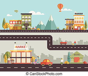Small town - Set of buildings of small business flat design