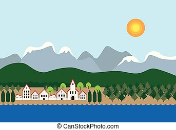 Small town with a church on the river or lake, near a forest with snowy mountains and hills in the background, under a blue sky with the sun -  flat design