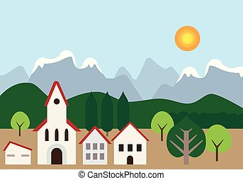 Small town with church and houses near forest, hills and mountains in background, under blue sky with shining sun and space for your text - flat design