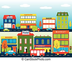 Small town with small and medium business. Set of buildings. Bakery, salon, market and pharmacies. Street with people watching. Vector. For brochures, backgrounds, printed products.