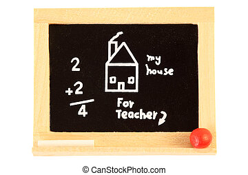 small toy chalk board isolated on white background; house and arithmetic