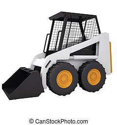 Small tractor. Isolated render on a white background