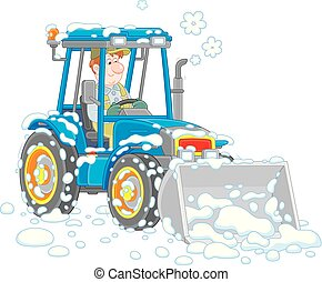 Small tractor grader cleaning snow