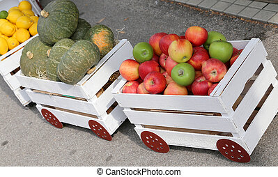 small train full of fresh fruits