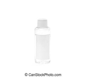 Small transparent plastic bottle with white cap and white blank label isolated on white background including clipping path and original shadow. place for text.