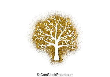 Small tree shape on golden glitter isolated on white background