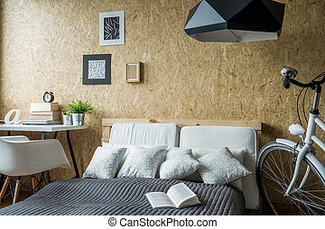 Small trendy bedroom with desk and bicycle