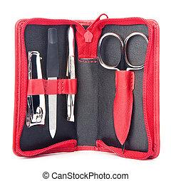 Small treveler's nail care kit of necessary instruments (...
