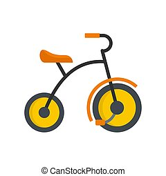 Small tricycle icon, flat style