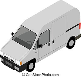 Small truck for transportation cargo. Vector isometric illustra