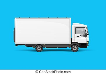 Small Truck Lorry Side View Mockup