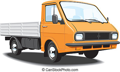 Small truck - Vector isolated small truck delivery and cargo...