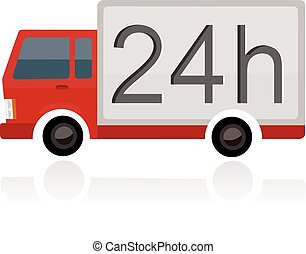 small truck with 24h text on trailer