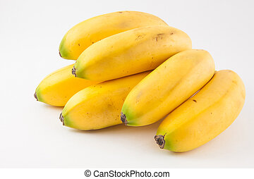Small type of banana called murrapo (Musa acuminata) on white background