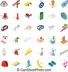 Small vacation icons set, isometric style - Small vacation...