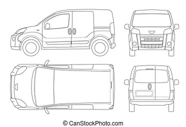 Small Van Car in lines. Isolated car, template for car branding and advertising. Front, rear , side, top and back. All elements in groups on separate layers.