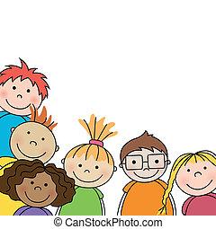 Small Vector Kids  - Vector Illustration of Small Kids