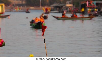 small Vietnam flag on the boat - VIETNAM Hoi an 19 MARCH...