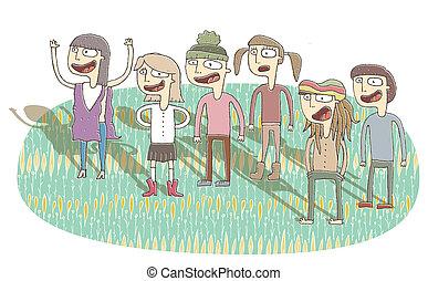 Small vignette illustration of singing teenagers. ...