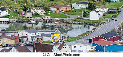 Small village and community buildings in Twillingate, Newfoundland.