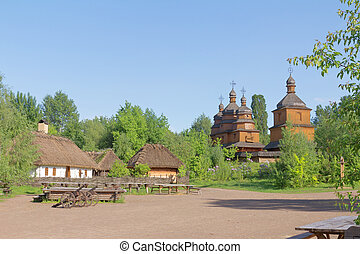 Small village and wooden church