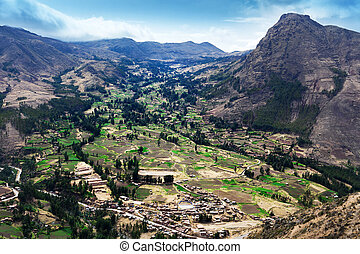 village in a mountain valley