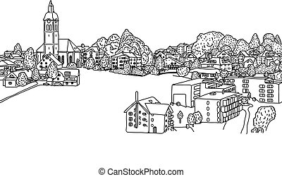 small village in europe vector illustration sketch doodle hand drawn with black lines isolated on white background. Copyspace.