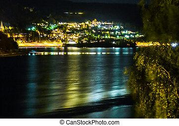 small village in norway illuminating at night