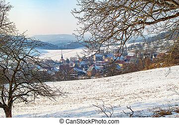 Small village in the winter