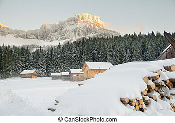 small village in winter mountains
