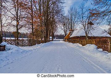 Small Village in Winter Season