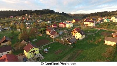 Small village near the forest. Aerial view