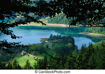 Small village on the lake - Beautiful village on the lake in...