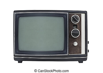 Small Vintage Portable Television Isolated