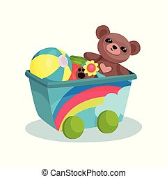 Small wagon with rainbow full of children toys. Teddy bear, inflatable ball, flower and colorful cube. Flat vector element for banner of kids store