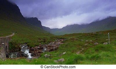 Small Waterfall At The Applecross Pass, Bealach Na Ba,...