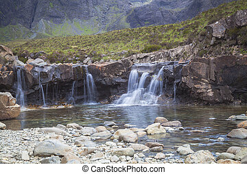 Small waterfall at the Fairy Pools on Isle of Skye, Scotland