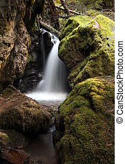 Small Waterfall between Boulders