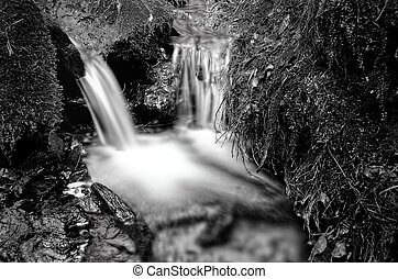 Small waterfall detail black and white