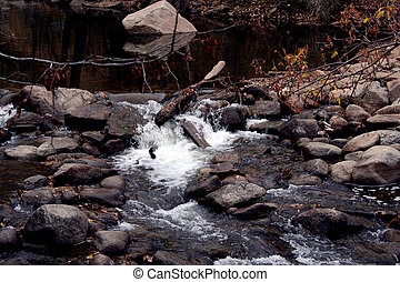 Boulder Creek - Small waterfall in Boulder Creek. Boulder, ...